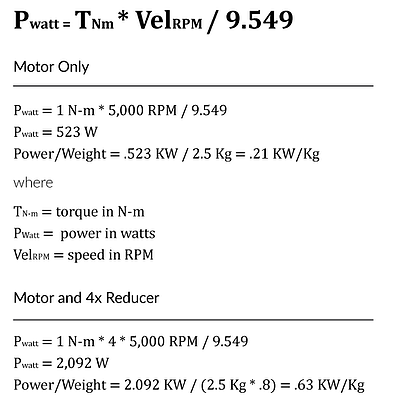 Power to Weight Ratio Calculations