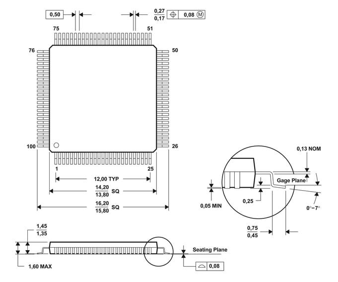 MC58113 Mechanical Dimensions