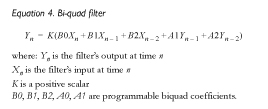 Equation 4. Bi-quad filter
